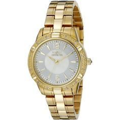 """Invicta """"Angel"""" Diamond-Accented 18k Gold Ion-Plated Stainless Steel... (540 DKK) ❤ liked on Polyvore"""