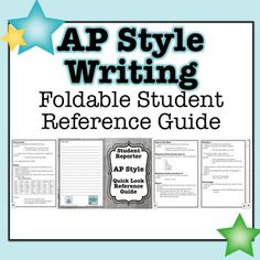 This PDF file is a printable and foldable 8 page AP Style Student Reference Guide for middle school and high school journalism and yearbook students. The reference guide includes covers the basic of AP Style including ages, composition titles, dates, days of the week, monetary units, names, numbers, percentages, punctuation, states, and time.This is an ideal resource for any middle school or high school newspaper or yearbook class.Get this resource and an accompanying lesson and classroom…