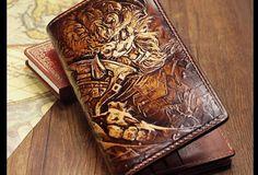 Handmade League of Legends LOL Rengar carved leather custom long wallet for men gamers