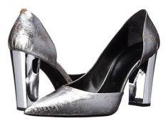 Pantofi cu toc gros argintii si varf ascutit