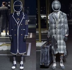 Thom Browne 2016-2017 Fall Autumn Winter Mens Runway Catwalk Looks - Mode à Paris Fashion Week Mode Masculine France - 1920s Twenties Gentlemens Club Outerwear Trench Coat Overcoat Bowler Hat Derby Felt Necktie Cropped Pants Trousers Furry Plush Quilted Frayed Raw Hem Tattered Threads Double-Breasted Plaid Tartan Check Patchwork Tweed Knit Weave Three-Piece Suit Blazer Dog Bag René Magritte Charlie Chaplin Gloves Luggage
