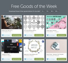 Download these 6 free goods before it's too late! Fonts, Graphics, Add-Ons, Vectors. Buy and sell handcrafted, mousemade design content like vector patterns, icons, photoshop brushes, fonts and more at @Creative Market #free #freebies #sale #graphic #fonts #design #art #new #fresh