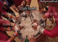 the chalk bucket to gymnast is a bar to adults
