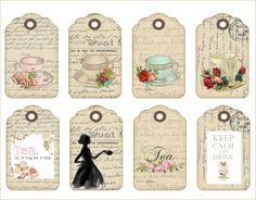 Perfect for tea party invitations.put the party details on the back with a ribbon through the hole and make them bookmark size Card Tags, Gift Tags, Cards, High Tea Invitations, Vintage Tea, Shabby Vintage, Royal Tea Parties, Tea Tag, Etiquette Vintage
