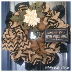 Chevron Welcome Home burlap wreath