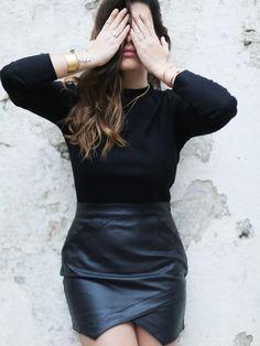 Negro+asimétrico+PU+falda+de+cuero+15.28