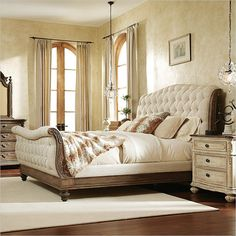 Rhapsody California King Size Tufted Sleigh Bed With