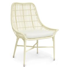 """The Palecek Lucca chair delivers geometric glamour to modern patios, porches, and poolsides. A plush cushion tops this accent's cream-hued powder coated aluminum frame and hand-woven faux wicker, creating an airy, open outdoor furnishing. 26.5""""W x 24""""D x 35.5""""H. Seat with cushion: 18""""H. High quality all-weather synthetic wicker with maximum UV protection. Wipe down with soft, dry cloth to clean."""