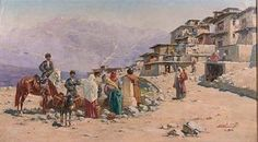 Caucasian village scene   Richard Karlovich Zommer 1866-1939