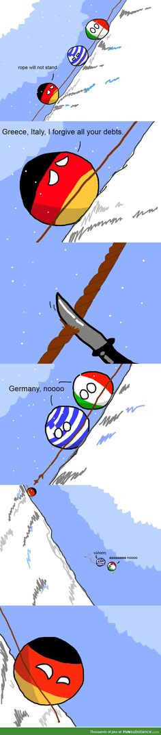 """Good Germany"" (Germaney, Greece, Italy) by  devaxa https://www.reddit.com/r/polandball/comments/2i15oh/good_germany/ #polandball #countryball"