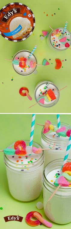 Edy's Mason Jar Milkshake: Summertime festivities and parties call for Edy's Vanilla ice cream milkshakes served in mason jars! And, since summer wouldn't be complete without kabobs, use a toothpick to spear some of your favorite gummy candies together to create the sweetest garnish for this dessert recipe.