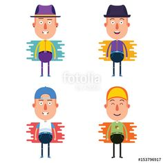 Vector: 4 Set of Young Stylish Man Cartoon Character