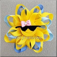 BLUE Sun Hair Bow