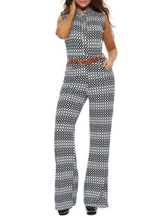 #AdoreWe #JustFashionNow dear-lover Seriously Flattering Circles Sleeveless Jumpsuit with Belt - AdoreWe.com