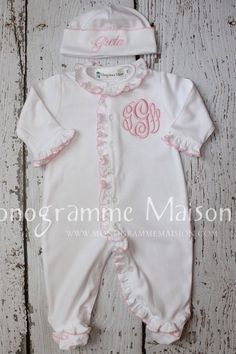 Baby Girl Coming Home Outfit-Baby girl footed by MonogrammeMaison