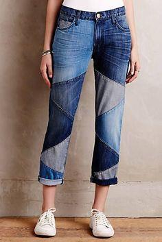 21 måter å følge Patchwork Jeans Trend Diy Jeans, Recycle Jeans, Diy Denim, Jeans Refashion, Patchwork Jeans, Recycled Fashion, Recycled Denim, Denim Fashion, Fashion Outfits