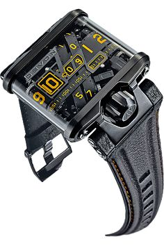 Devon Tread 1F timepiece - Displays time through a series of overlapping belt drives and stepper motors