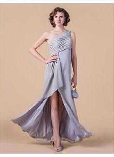 Stunning Sheath/Column One Shoulder Floor-length Chiffon Mother of the Bride Dress