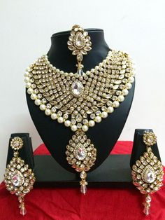 Indian Bollywood Diamante Kundan Pearl Gold Tone Bridal Fashion Jewelry Set #CrownJewel