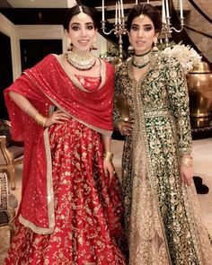 Sabyasachi red lengha and green gown Pakistani Wedding Dresses, Indian Wedding Outfits, Pakistani Outfits, Bridal Outfits, Indian Dresses, Indian Outfits, Bridal Dresses, Pakistani Mehndi Dress, Indian Sarees