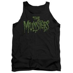 MUNSTERS/DISTRESS LOGO-ADULT TANK-BLACK