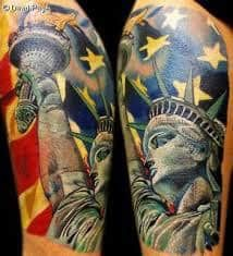 What does statue of liberty tattoo mean? We have statue of liberty tattoo ideas, designs, symbolism and we explain the meaning behind the tattoo. Forearm Band Tattoos, Leg Tattoos, Tattoos For Guys, Sleeve Tattoos, Tatoos, Army Tattoos, Badass Tattoos, Awesome Tattoos, Statue Of Liberty Tattoo