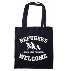 Schwarze  Baumwolltasche mit langem Henkel und weißem Refugees welcome Druck ca.40,5 x 37cm 4,99 Euro
