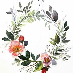 Customizable watercolor floral wreath by Bethany Joy Design