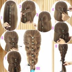 Colorful Different Size Plastic Hair Braid Ponytail Makers Styling Loops Tool : Beauty Braided Ponytail Hairstyles, Ponytail Styles, Braided Hairstyles, Cool Hairstyles, Short Hair Styles, Braid Ponytail, Elegant Hairstyles, Hairstyle Ideas, Toddler Hair
