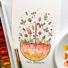 leaves fireworks #tania_autumndraw #illustration #watercolor #leaves #umbrella #picame #painting #inspiration #autumnart #artistsoninstagram