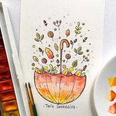 leaves fireworks  #tania_autumndraw #illustration #watercolor #leaves #umbrella #picame #painting #inspiration #autumnart #artistsoninstagram
