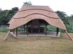 Most thatched lapa designs consist of upright posts that are embedding in a concrete base approximately square by deep Thatched House, Thatched Roof, Radiant Barrier Insulation, Roof Design, House Design, Small Gazebo, Mediterranean House Plans, Roof Architecture, House Roof