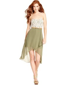 Trixxi Juniors Dress, Strapless Lace High-Low - Juniors Dresses - Macy's