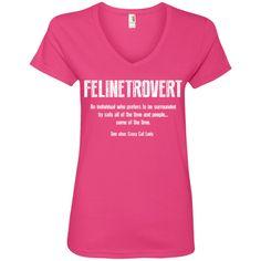 Felinetrovert - Ladies V Neck