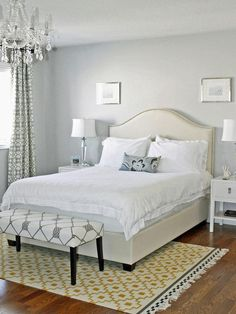 Sleeping on a Cloud - Love the headboard, LOVE the bench, lamps and chandelier