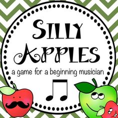 Fall Music Games: Silly Apples - reviews rhythms, piano keys and finger numbers for beginning musicians Music Ed, Music Games, Piano Lessons, Music Lessons, Music For Toddlers, Toddler Music, Piano Games, Piano Keys, Piano Teaching