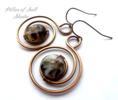 Wire wrapped earrings / wire wrapped jewelry handmade / spiral hoop earrings/ black mother of pearl mosaic / copper jewelry / earthy jewelry...
