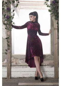 Jawbreaker Velvet Dress: black/burgundy   https://www.attitudeclothing.co.uk/womens-c256/clothing-c857/dresses-c275/jawbreaker-clothing-high-low-velvet-dress-p20798