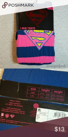 {New} DC Comics Pink Blue Super Girl Tights L/XL {New} DC Comics Pink Blue Super Girl Tights size L/XL. Blue with pink ombre stripe. Cute and fun!  Please let me know if you have any questions. Happy Poshing! Hyp Accessories Hosiery & Socks