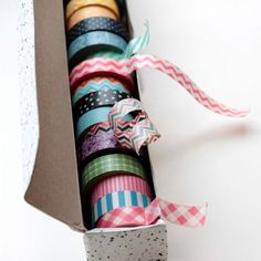 wax paper box repurposed into a washi tape dispenser