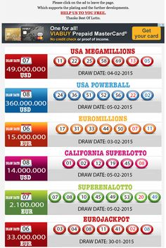New Result available 2015.02.06 http://www.bestoflotto.com/lottery-results.html