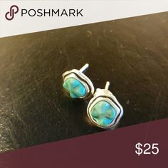 Silpada sterling and turquoise earrings Never worn Studs with backs Silpada Jewelry Earrings