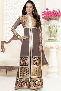 Karisma Kapoor Coffee Color Georgette Salwar Suit