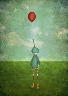 The balloon Medium size 8 x 10 illustration print door majalin