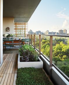 When reworking a balcony, think beyond furniture and consider refinishing condo-standard dividers, walls and floors, too. Home to golden clematis and American bitersweet vines, two graphic, modern tre