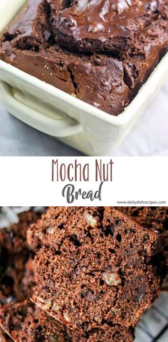 This moist delicious Mocha Nut Bread is a delicious chocolate coffee bread speckled with soft chocolate chips and crunchy pecans. Chocolate Treats, Chocolate Coffee, Delicious Chocolate, Chocolate Recipes, Fun Desserts, Delicious Desserts, Dessert Recipes, Coffee Bread, Semi Sweet Chocolate Chips