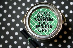 Graduation Gift: all you'll need to do is punch out your tag with a 3 inch circle punch ( or just trace around a cup and cut out ) and then use glue dots to adhere it to the top of the can. Roll your moola and tie it with the cute twine.