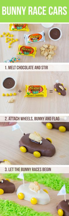 Easter Bunny Treats …the most adorable bunny race cars and chocolate peanut butter bunnies! Your kids will love these mini desserts for Easter. You could use a peep bunny too. Easter Snacks, Easter Treats, Easter Recipes, Easter Food, Easter Desserts, Easter Stuff, Easter Dinner, Easter Brunch, Easter Party