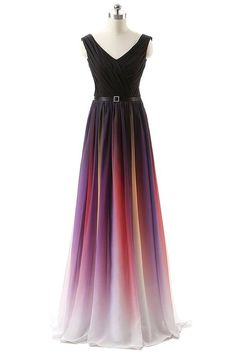 BessWedding Pleated Ombre Pageant Party Dresses 2016 Gradient Long Prom Dress for Girls at Amazon Women's Clothing store: