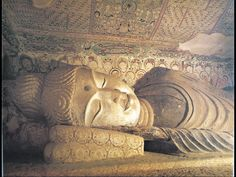 The Sleeping Buddha. Detail of head portion of the Buddha's Parinirvana. Mid-Tang Dynasty. Cave 158 of the Mogao Grottoes at the edge of the Gobi desert.